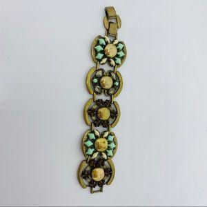 Stella & dot antique gold tone rhinestone bracelet
